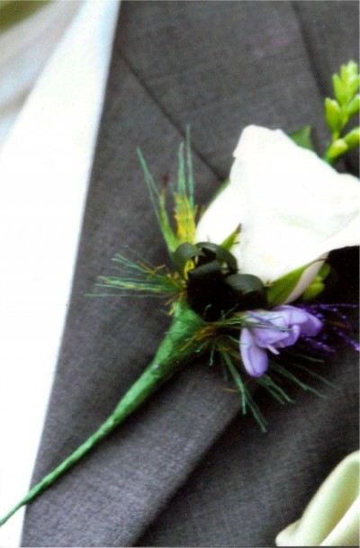 Groom's buttonhole created by Flowers by Hughes Florist Shop, Monaghan Town, Ireland